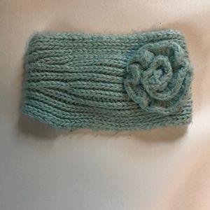 Knitted Light Blue Flower Headband